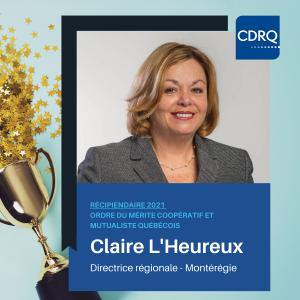 Claire L'Heureux, ordre du mérite 2021